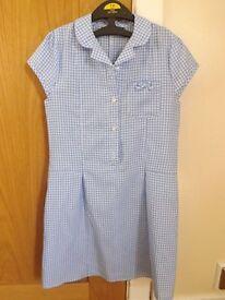 2 Girls Gingham School Dresses Age 7-8