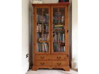 Wood and glass display cabinet/bookcase