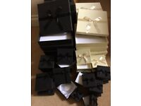 Selection of black and cream jewellery boxes