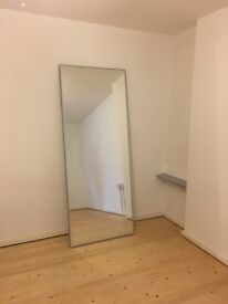 Large free standing mirror in aluminium box frame