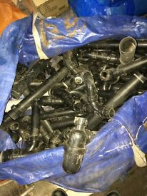 Black plastic plumbing pipes fittings 1 ton bag full