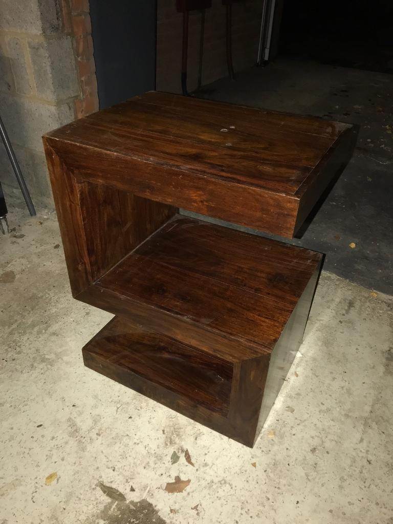 Solid Dark Wood Side Table lamp table