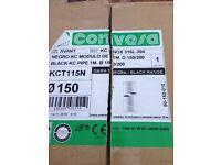 Convesa Twin wall flue (black). 1 metre. 6 inch internal 8 inch external diameter