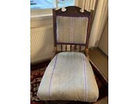 Reduced! Victorian nursing chair - recent upholstery in a good condition