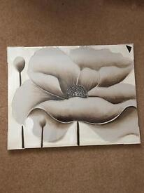 Cream metallic flower hand painted canvas