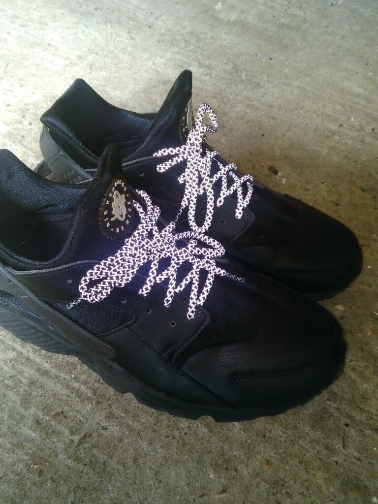 09a29fbd3c0 Used Mens Genuine Nike air max huarache Size 12 customised NIKE ID leather  reflective laces