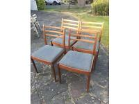 SOLID MIDCENTURY CHAIRS/RETRO DELIVERY TEAK WOOD NO TABLE