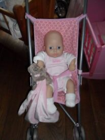 1st baby annabell doll with buggy and teddy comforter