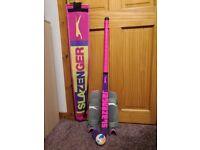 Slazenger hockey stick, bag, shinguards and hockey ball