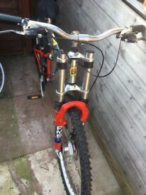 Red silver mountain bike