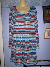 AZTEC PATTERN LONG SLEEVED DRESS SIZE M 14/16 BY BONPRIX COLLECTION