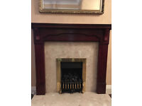 Wooden fire surround, gas fire and marble hearth