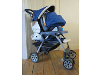 Chicco travel system including car seat and stroller, used but in great condition