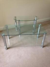 Glass TV Stand & Matching Coffee Table
