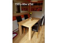 Dining Table & 4 chairs Real wood Veneer 150 x 80 x 75 cm faux leather chairs