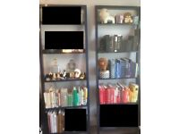 1 x Crate and Barrel Blue Leaning Bookshelf / Bookcase
