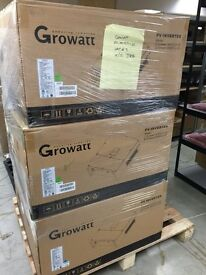 Over 20 used Growatt Solar inverters boxed as new, from 1kw to 6kw