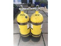 Twin 10l dive cylinders
