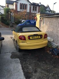 RENAULT MEGANE CABRIOLET CONVERTIBLE YELLOW 1.6 16v SPARES OT REPAIR RUNS AND DRIVES