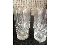 Glasses Drinking Tall, Cut Glass Pattern x 6 Drinking Glasses