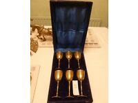 Handcrafted 6 Etched Brass Wine Goblet Glasses Saudi Arabia Storage Case