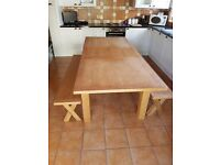 Oak dinning table and 2 x benches