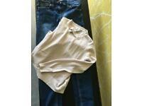 Next age 9 girls skinny jeans with adjustable waist and lightweight River Island long sleeve top