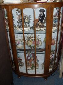 DISPLAY CABINET WITH CAPO DI MONTE FIGURINES (figurines @ £22 each )