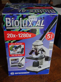 Bresser BioLux AL 20x-1280x with accesories including PC Ocular