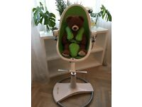 Bloom Fresco Chrome Highchair White Frame and Green seat with Starter Kit and Harness Set