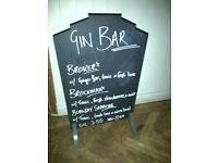 Original vintage art deco firescreen upcycled pub bar sign message menu board blackboard chalk board