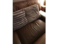 High quality 4 seater leather sofa 9ft long with footstool