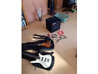 2 Bass guitars, Bass Amp and Accessories
