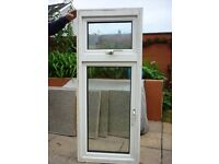 UPVC double glazed window unit with 2 openings. Overall H 147cm x W 60cm.
