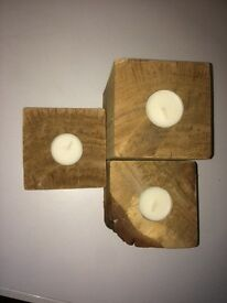 Hand made solid oak 3 set tea light holders