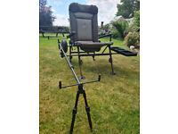 Nash PegOne Transformer fishing chair. Chair / Trolley / Rod-pod / Bait tray combo