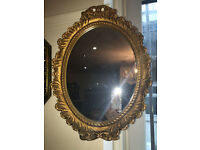 Gorgeous Ornate Gilt Carved Antique Oval Mirror Gilt Frame