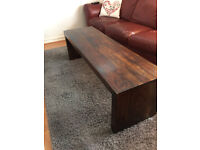 Extra long solid wood coffee table - sheesham / chunky / block style