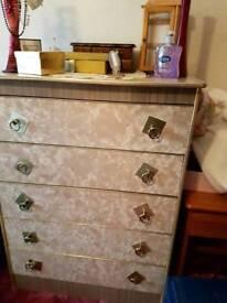Formica veneer 5 drawer chest of drawers