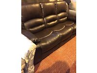 dark brown leather two sofas