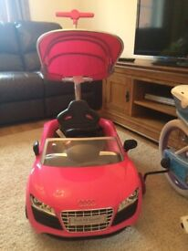 Pink Audi Push Buggy with Canopy