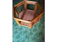 Wicker cane rattan glass top coffee table