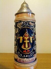 Vintage Handarbeit W.Germany Munchen Pewter Lidded Beer Stein