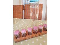 Jamie Oliver spice jars and rack, with spaghetti/large storage jar