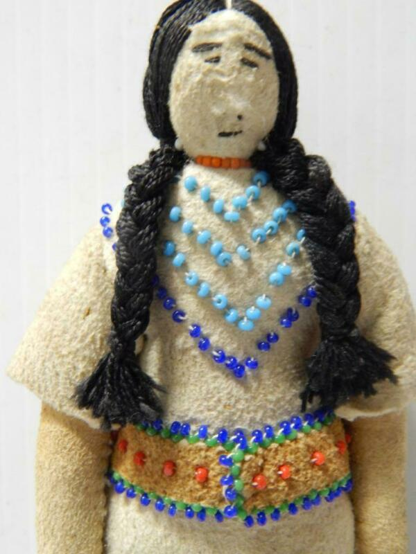 VINTAGE KOOTENAI INDIAN DOLL TRADITIONAL BEADED HIDE CLOTHING HITOP MOCS MONTANA