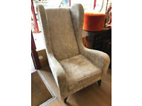 Silver Velvet High Backed Armchair , in good condition. From showhouse so never been used