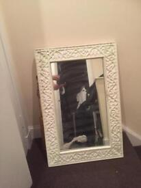 Large carved wood ornate wall mirror