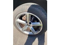 AUDI ALLOY WHEELS WITH NEAR NEW TYRES