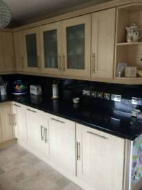 Maple kitchen wall units/display and all doors wall and base