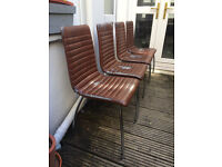 Set of 4 Dining Chairs - Chrome Legs w/ Faux Leather Upholstery (Made in Italy) - £50